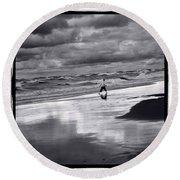 Boy On Shoreline Round Beach Towel