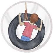 Boy On Swing 1 Round Beach Towel by Betsy Hackett