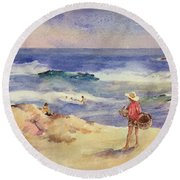 Boy On The Sand Round Beach Towel by Joaquin Sorolla