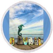 Boy On The Seahorse Round Beach Towel