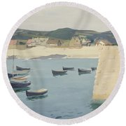 Boy Reading On A Harbour's Edge  Round Beach Towel
