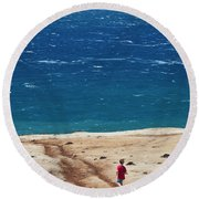 Boy Runs Toward Ocean Round Beach Towel