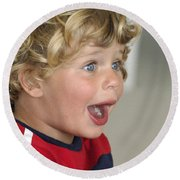 Boy Surprise Round Beach Towel