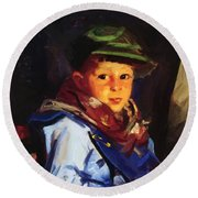 Boy With A Green Cap Also Known As Chico 1922 Round Beach Towel