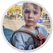 Boy With A Horn _ Nola Round Beach Towel