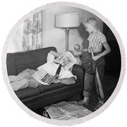 Boy With Baseball Vs. Napping Dad Round Beach Towel