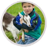 Boy With Goat Round Beach Towel