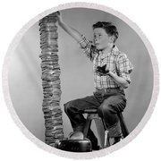 Boy With Huge Stack Of Toast, C.1950s Round Beach Towel