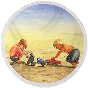 Boys And Trucks On The Beach Round Beach Towel