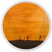 Boys At Sunset Round Beach Towel
