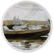 Boys In A Dory, By Winslow Homer, Round Beach Towel