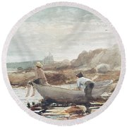 Boys On The Beach Round Beach Towel by Winslow Homer