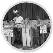Boys Selling Lemonade, C.1940s Round Beach Towel