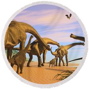 Brachiosaurus Beach Round Beach Towel