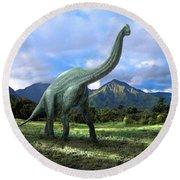 Brachiosaurus In Meadow Round Beach Towel by Frank Wilson