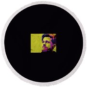 Brad Pitt Fury Round Beach Towel