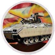 Bradley M2 Fighting Vehicle Round Beach Towel