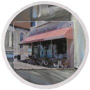 Brady Street - Peter Scortino Bakery Layered Round Beach Towel