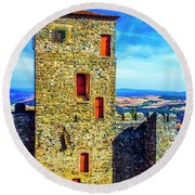 Braganca Castle Tower Round Beach Towel
