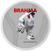Brahma Breeders Rock Red Round Beach Towel