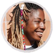 Braided Lady Round Beach Towel