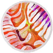 Brain Coral Abstract 6 In Orange Round Beach Towel