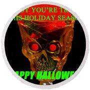 Brain Desert Halloween Card Round Beach Towel