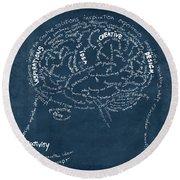 Brain Drawing On Chalkboard Round Beach Towel