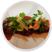 Braised Beef With Vegetables Round Beach Towel