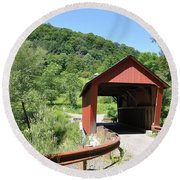 Braley Covered Bridge Round Beach Towel