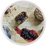 Bran Muffins With Mulberry Jam Round Beach Towel