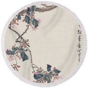 Branch Magpie Painting Round Beach Towel