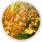 Branch Of Autumn Leaves Round Beach Towel