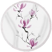 Branch Of Blooming Purple Magnolia Flowers Japanese Zen Sumi-e P Round Beach Towel
