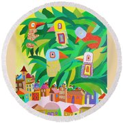 Branch Over The City Round Beach Towel
