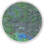 Branches And Sky Round Beach Towel