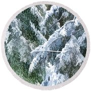 Branches In Winter Season With Fresh Fallen Snow Round Beach Towel
