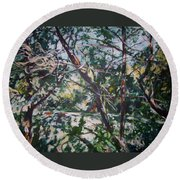 Branches Of Light Round Beach Towel