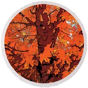 Brandywine  Maple Fall Colors 2 Round Beach Towel