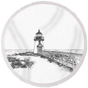 Brant Point Lighthouse Round Beach Towel