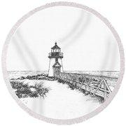 Brant Point Lighthouse Round Beach Towel
