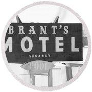 Brants Motel Signage Round Beach Towel