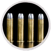 Brass And Lead Bullets. Round Beach Towel