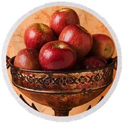 Brass Bowl With Fuji Apples Round Beach Towel