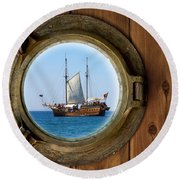 Brass Porthole Round Beach Towel
