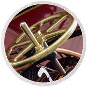 Brass Steering Wheel Round Beach Towel