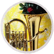 Brass Tuba With Red Roses Round Beach Towel