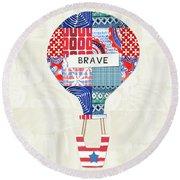 Brave Balloon- Art By Linda Woods Round Beach Towel