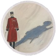 Bravery Has A Shadow - The Chelsea Pensioner  Round Beach Towel