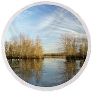Brazos Bend Winter Reflections Round Beach Towel